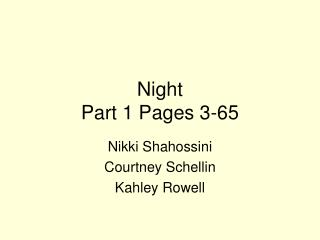 Night  Part 1 Pages 3-65
