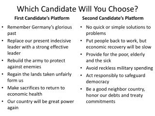 Which Candidate Will You Choose?