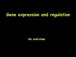 Gene expression and regulation