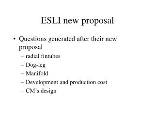 ESLI new proposal