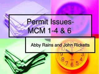 Permit Issues-  MCM 1-4 & 6