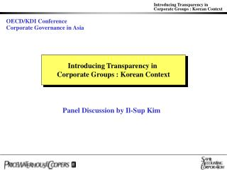 Introducing Transparency in  Corporate Groups : Korean Context