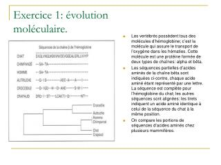 Exercice 1:  volution mol culaire.