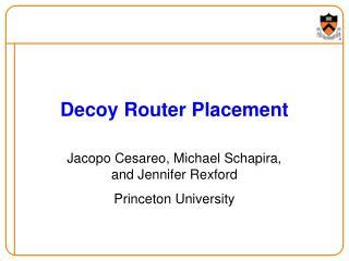Decoy Router Placement