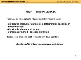 M.E.F. – PRINCIPII DE BAZA