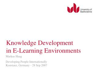 Knowledge Development in E-Learning Environments