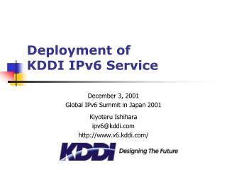 Deployment of KDDI IPv6 Service
