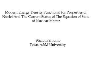 Shalom Shlomo Texas A&M University