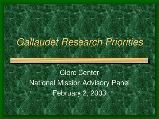 Gallaudet Research Priorities