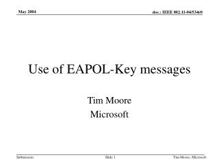 Use of EAPOL-Key messages