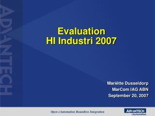 Evaluation  HI Industri 2007