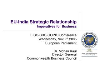 EU-India Strategic Relationship Imperatives for Business