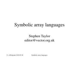 Symbolic array languages