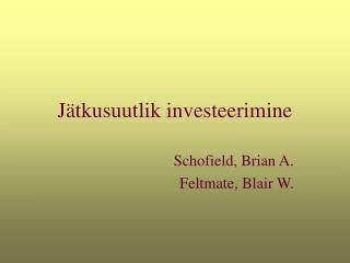 Jätkusuutlik investeerimine