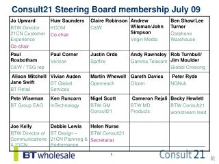 Consult21 Steering Board membership July 09