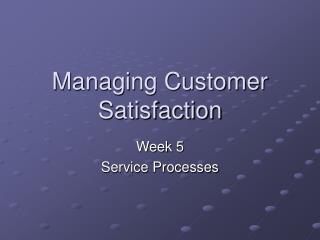 Managing Customer Satisfaction