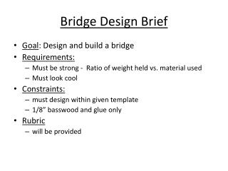 Bridge Design Brief