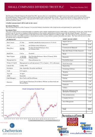 SMALL COMPANIES DIVIDEND TRUST PLC 	Trust facts as at 30.6.05
