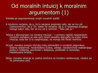 Od moralnih intuicij k moralnim argumentom (1)