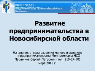 Развитие предпринимательства в Новосибирской области