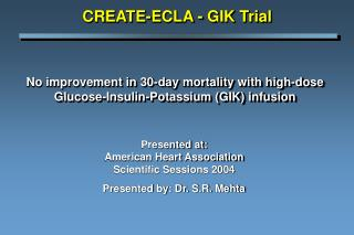 No improvement in 30-day mortality with high-dose Glucose-Insulin-Potassium (GIK) infusion