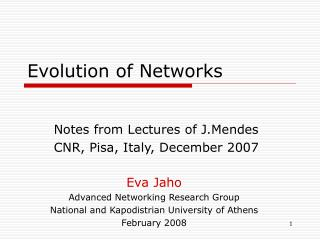 Evolution of Networks