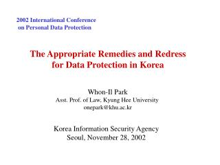 2002 International Conference   on Personal Data Protection