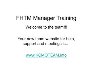 FHTM Manager Training