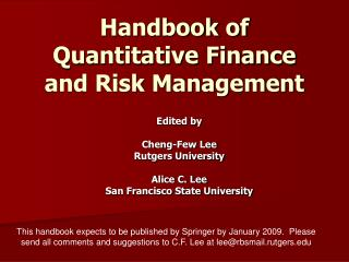 Handbook of Quantitative Finance and Risk Management