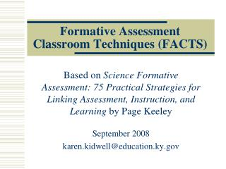 Formative Assessment Classroom Techniques (FACTS)
