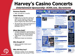 Harvey's Casino Concerts Entertainment Sponsorship- KCRA, Sacramento