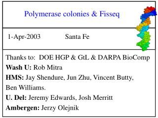 Polymerase colonies & Fisseq