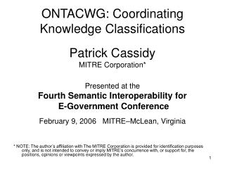 ONTACWG: Coordinating Knowledge Classifications