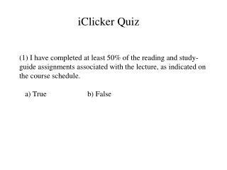iClicker Quiz
