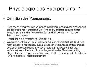 Physiologie des Puerperiums -1-
