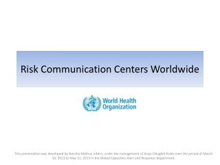 Risk Communication Centers Worldwide