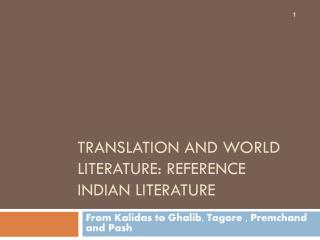 Translation and World Literature: Reference Indian Literature