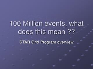 100 Million events, what does this mean ??