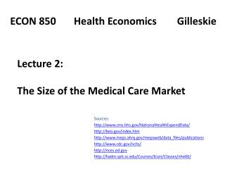 Lecture 2:   The Size of the Medical Care Market