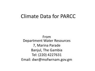 Climate Data for PARCC