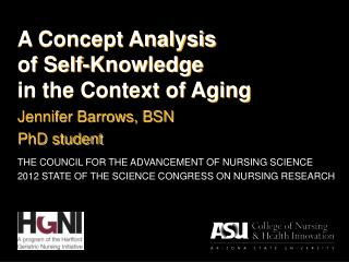 A Concept Analysis  of Self-Knowledge  in the Context of Aging