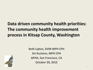 Beth Lipton, DVM MPH CPH Siri Kushner, MPH CPH APHA, San Francisco, CA October 29, 2012