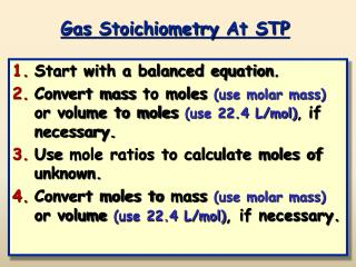 Gas  Stoichiometry  At STP