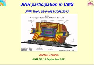 JINR participation in CMS  JINR Topic 02-0-1083-2009/2013