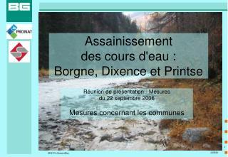 Assainissement  des cours d'eau :  Borgne, Dixence et Printse