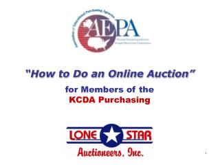 """""""How to Do an Online Auction"""" for Members of the KCDA Purchasing"""