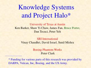 Knowledge Systems  and Project Halo*