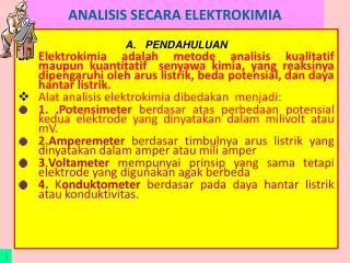 ANALISIS SECARA ELEKTROKIMIA