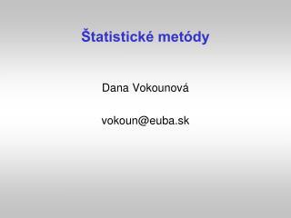Štatistické metódy