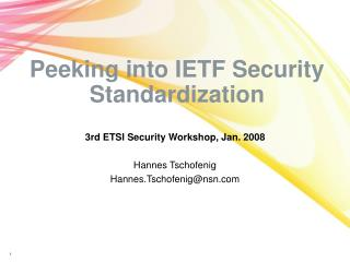 Peeking into IETF Security Standardization